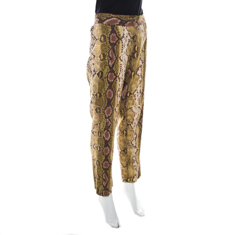 Michael Kors Multicolore De Peau De Serpent Impression De Lin Stretch Coupe Droite Pantalon M
