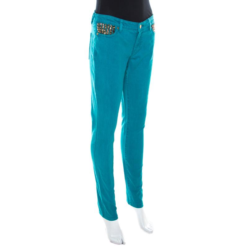 Michael Kors Bleu Turquoise Denim Clouté Détail De La Poche Skinny Jeans S