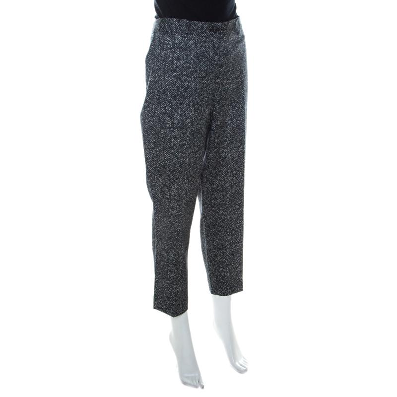 Michael Kors Gris Foncé Stretch imprimé Chevron de Laine Fuselée Pantalon XL