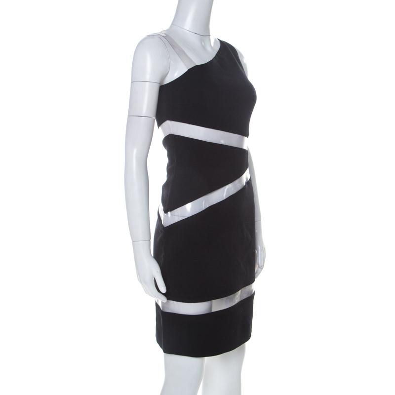 Michael Kors Noir Crêpe Mousse de PVC Insérer Une Épaule Mini Robe de S