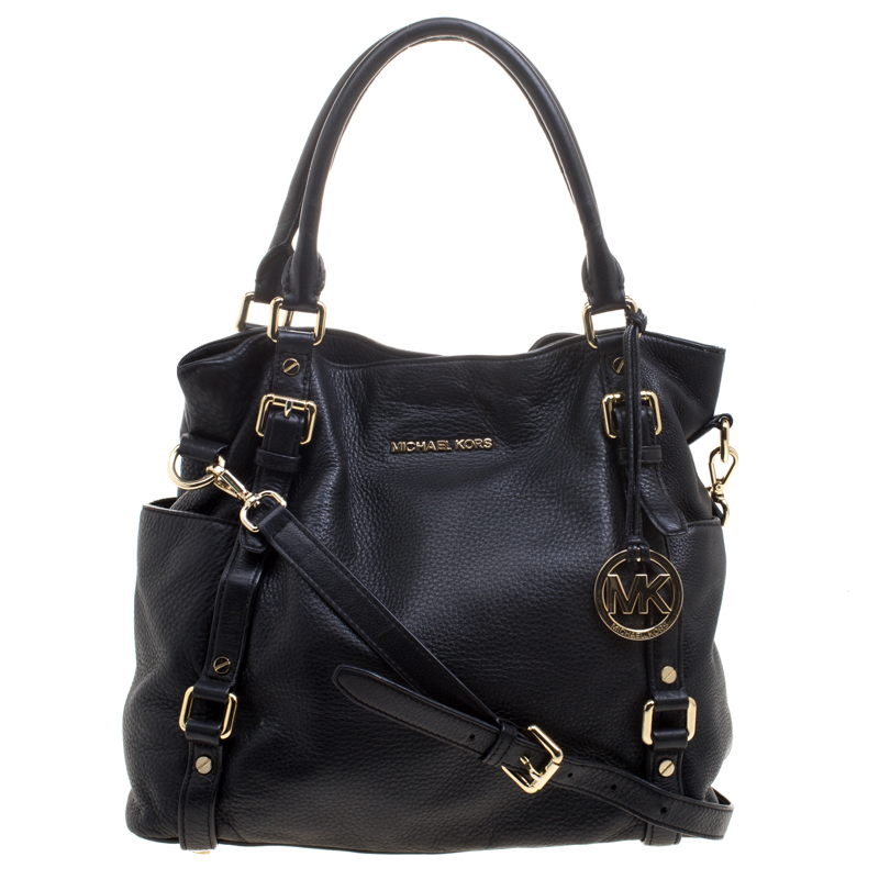 b99a7b4f4a5f6a ... Michael Kors Black Leather Buckle Strap Convertible Tote. nextprev.  prevnext