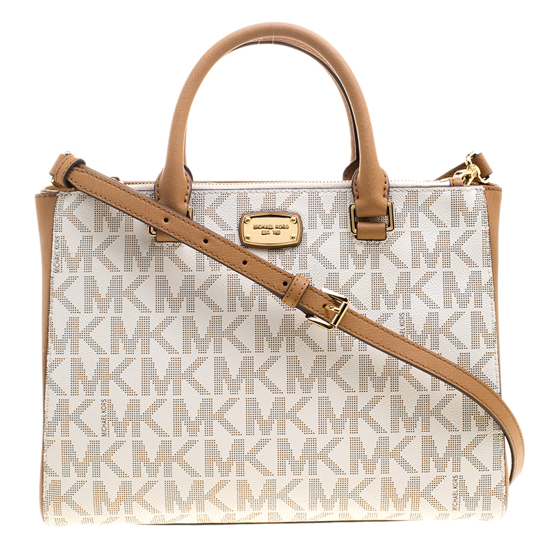 167a9bdb4fdf ... Michael Kors Off White Brown Signature Coated Canvas Kellen Top Handle  Bag. nextprev. prevnext