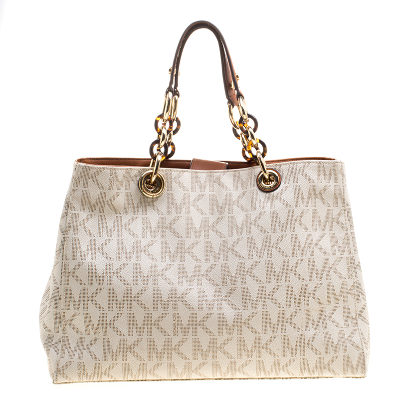 7c988a9c83f6 Buy Michael Kors Off White Canvas Cynthia Tote 126793 at best price ...