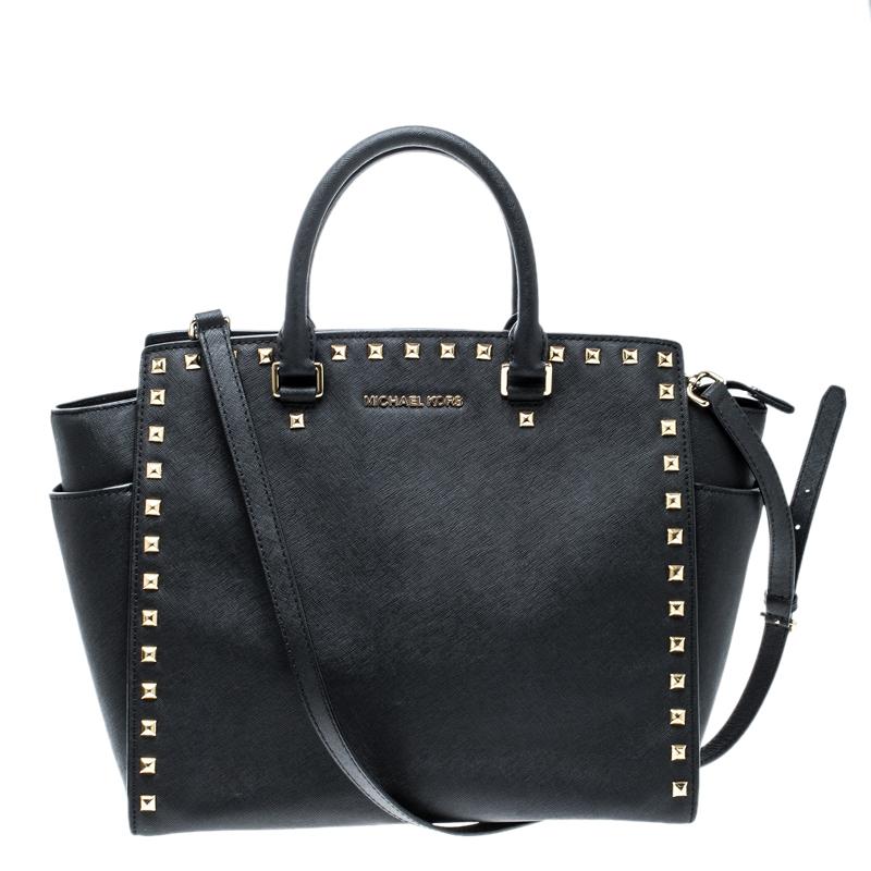 f0d9b2c60a45 Michael Kors Black Leather Medium Selma Studded Tote 126983 At
