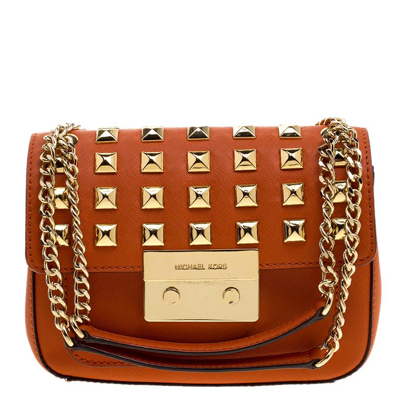 3730b3b926d3f3 ... Michael Kors Orange Leather Sloan Studded Shoulder Bag. nextprev.  prevnext
