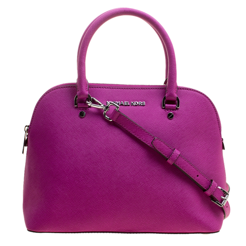 7a99d58b30e2 Buy Michael Kors Fuchsia Leather Cindy Dome Satchel 130119 at best ...