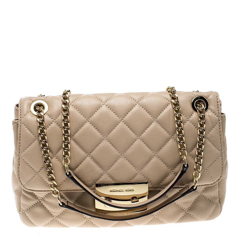 b8ec595d9b3f Buy Michael Kors Pink Quilted Leather Shoulder Bag 135678 at best ...
