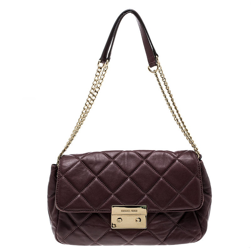 acc9a2712921 Michael Kors Burgundy Quilted Leather Sloan Shoulder Bag 135860