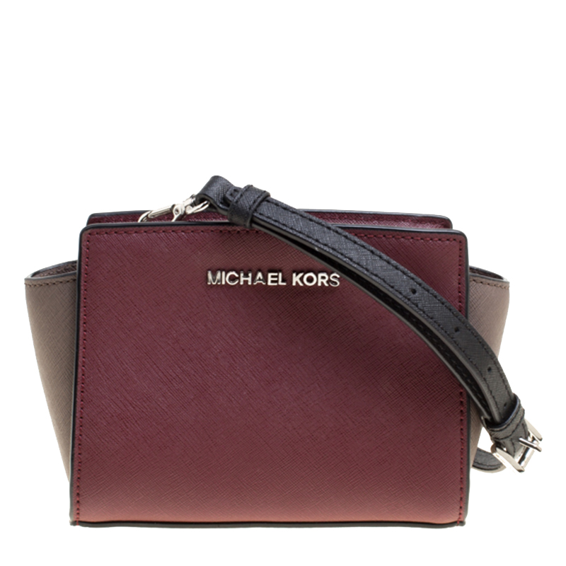 3093a1759aa0 Michael Kors Burgundy Grey Saffiano Leather Mini Selma Crossbody. Michael  Kors Burgundy Purse Relogio Mk5875. Puros De Hostos ...