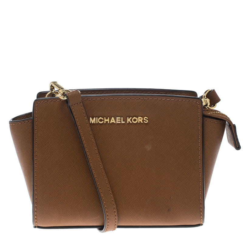 3d4ef037bcc6 Buy Michael Kors Brown Saffiano Leather Mini Selma Crossbody Bag ...