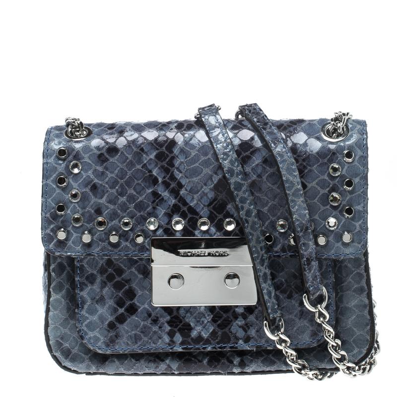 390d0db49da630 Buy Michael Kors Aquamarine Python Embossed Leather Sloan Studded ...