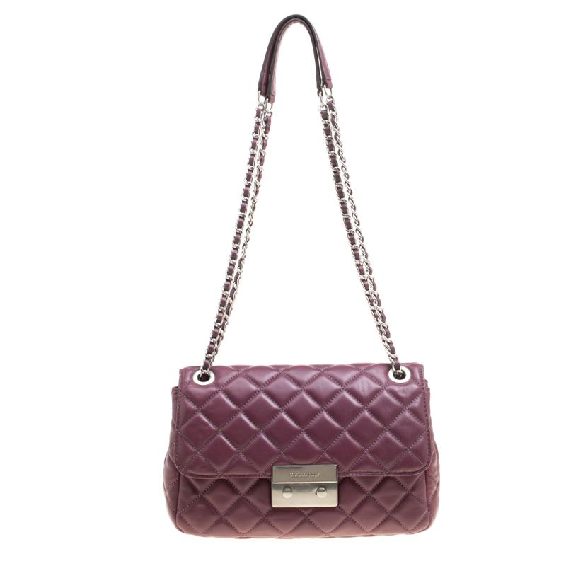 Michael Kors Burgundy Quilted Leather Sloan Shoulder Bag