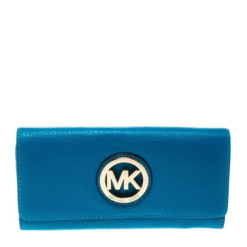 fda1c87a57be ... Michael Kors Blue Leather Fulton Flap Wallet. nextprev. prevnext