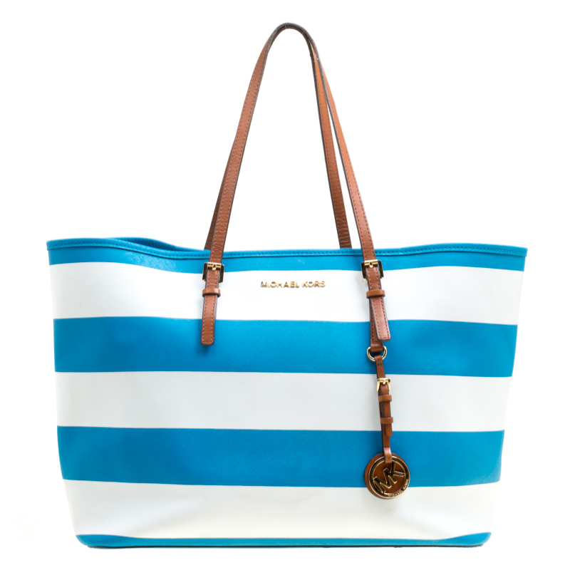 9eedd35a86426f Buy Michael Kors Summer Blue/White Striped Leather Jet Set Travel ...