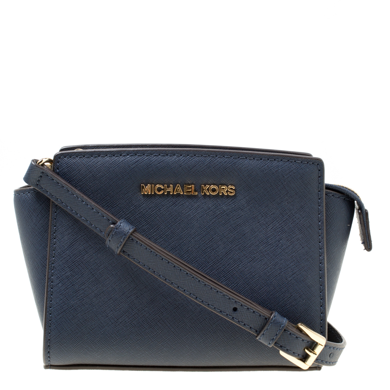 fbf90dce545f5 ... Michael Kors Blue Saffiano Leather Mini Selma Crossbody Bag. nextprev.  prevnext