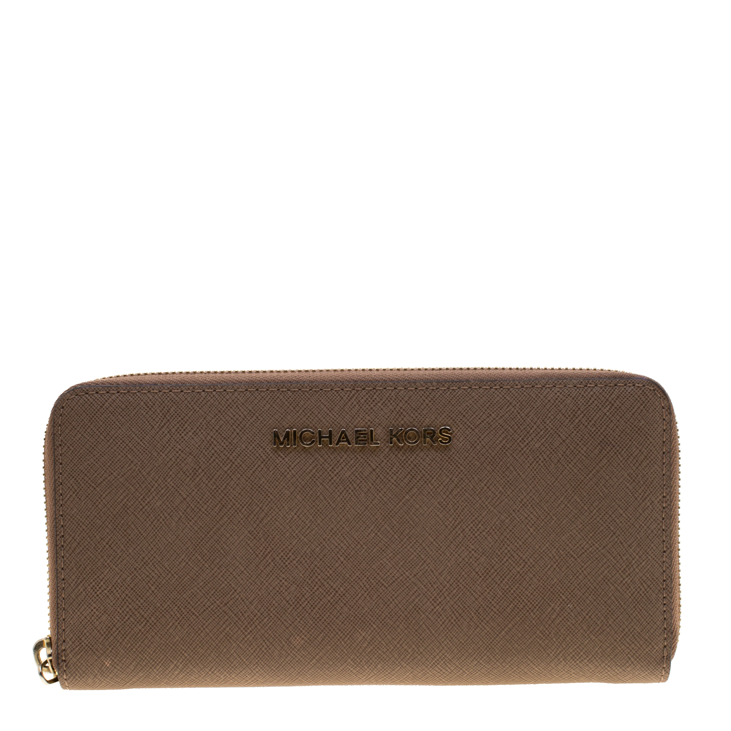 e305827dd127 ... Michael Kors Light Brown Saffiano Leather Zip Around Wallet. nextprev.  prevnext