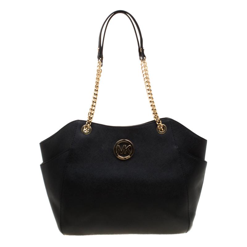 Michael Kors Black Leather Jet Set Travel Chain Shoulder Bag