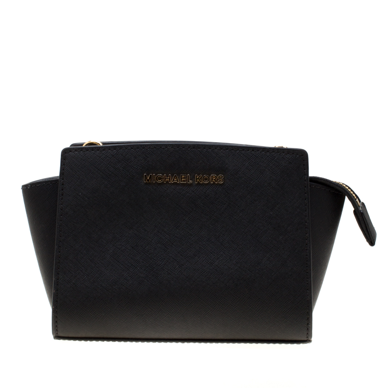 Michael Kors Black Leather Mini Selma Crossbody Bag