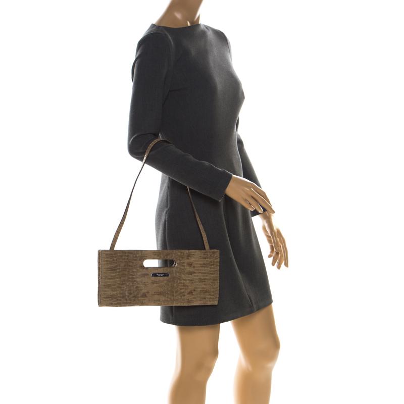 Michael Kors Beige Lizard Embossed Leather Cutout Handle Clutch Bag