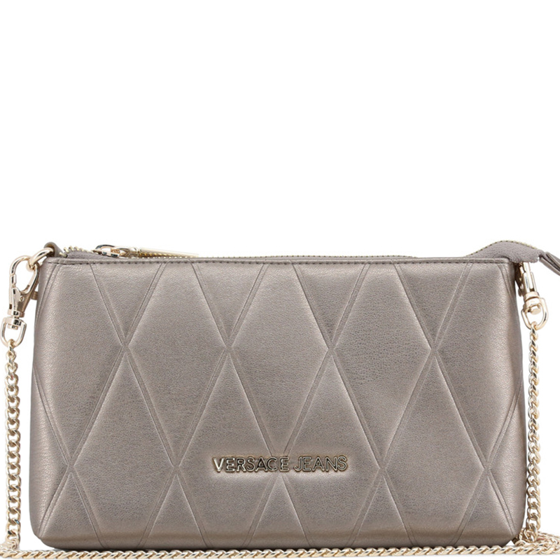 Versace Jeans Gray Quilted Faux Leather Clutch Bag