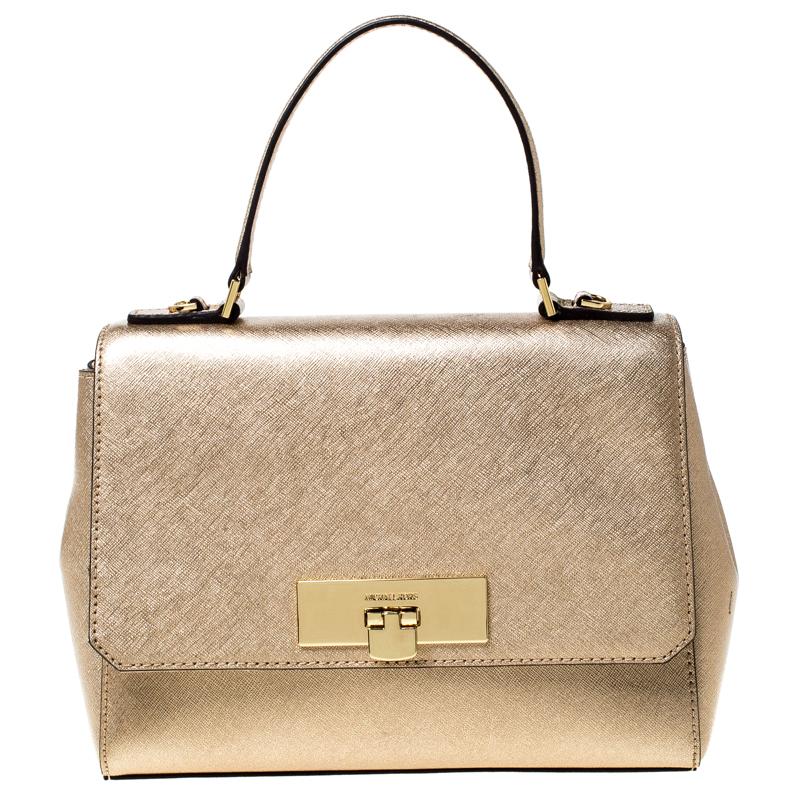 MICHAEL Michael Kors Metallic Gold Leather Top Handle Bag