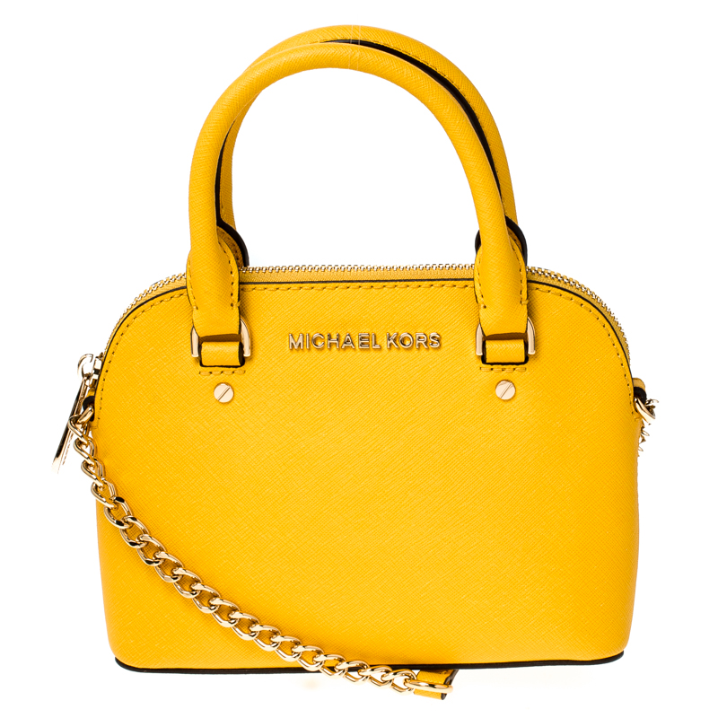 Michael Kors Yellow Leather Mini Emmy Cindy Crossbody Bag