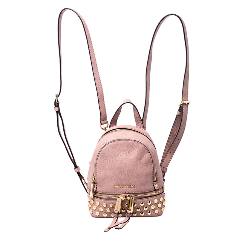 Michael Kors Beige Leather Mini Studded Rhea Backpack