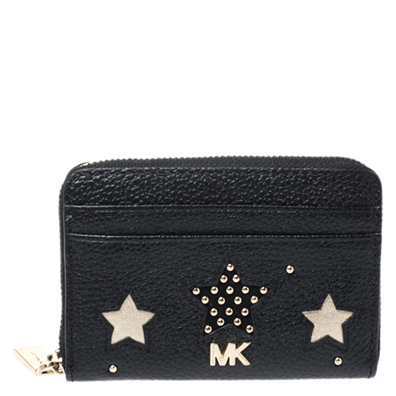 Michael Kors Black Studded Leather Star Zip Around Coin Purse
