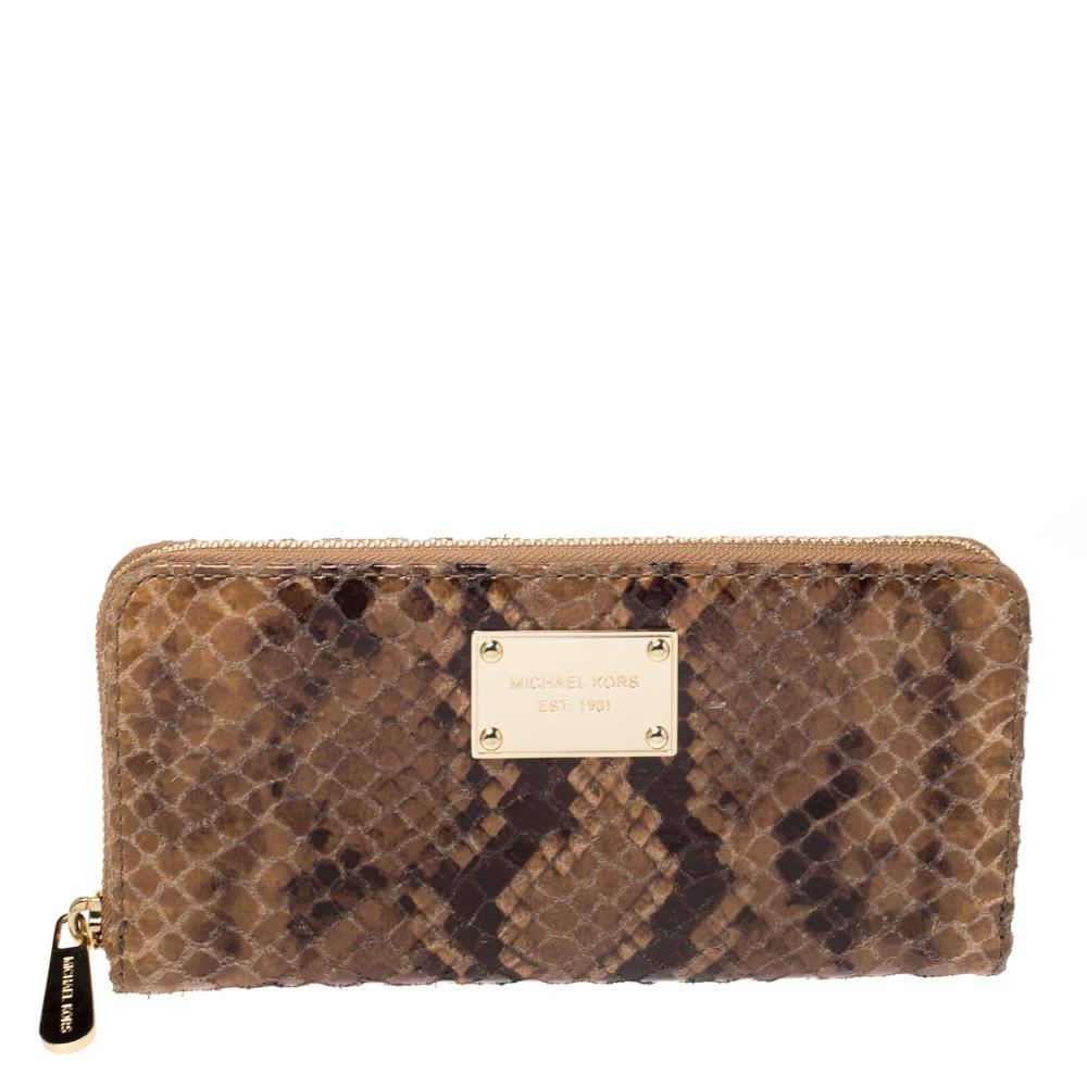 Michael Kors Brown Python Effect Leather Jet Set Zip Around Wallet