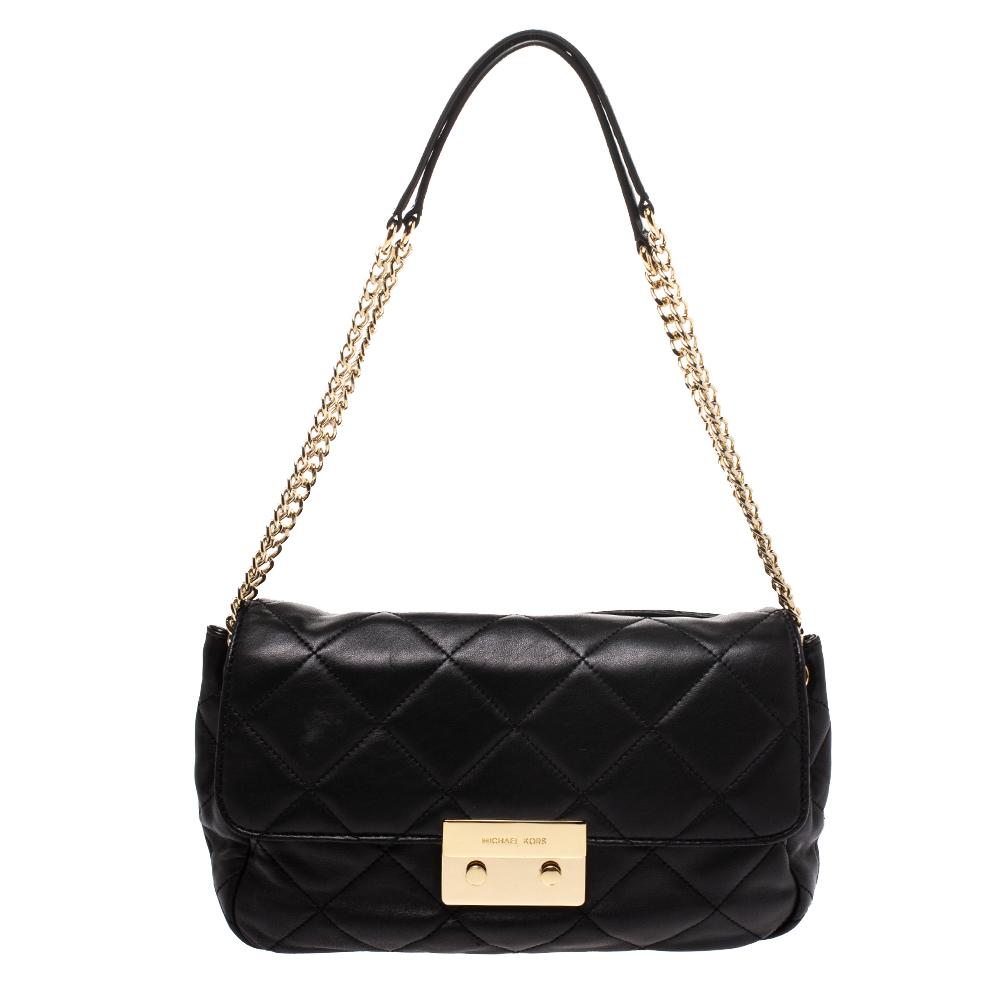 Michael Kors Black Leather Small Sloan Shoulder Bag