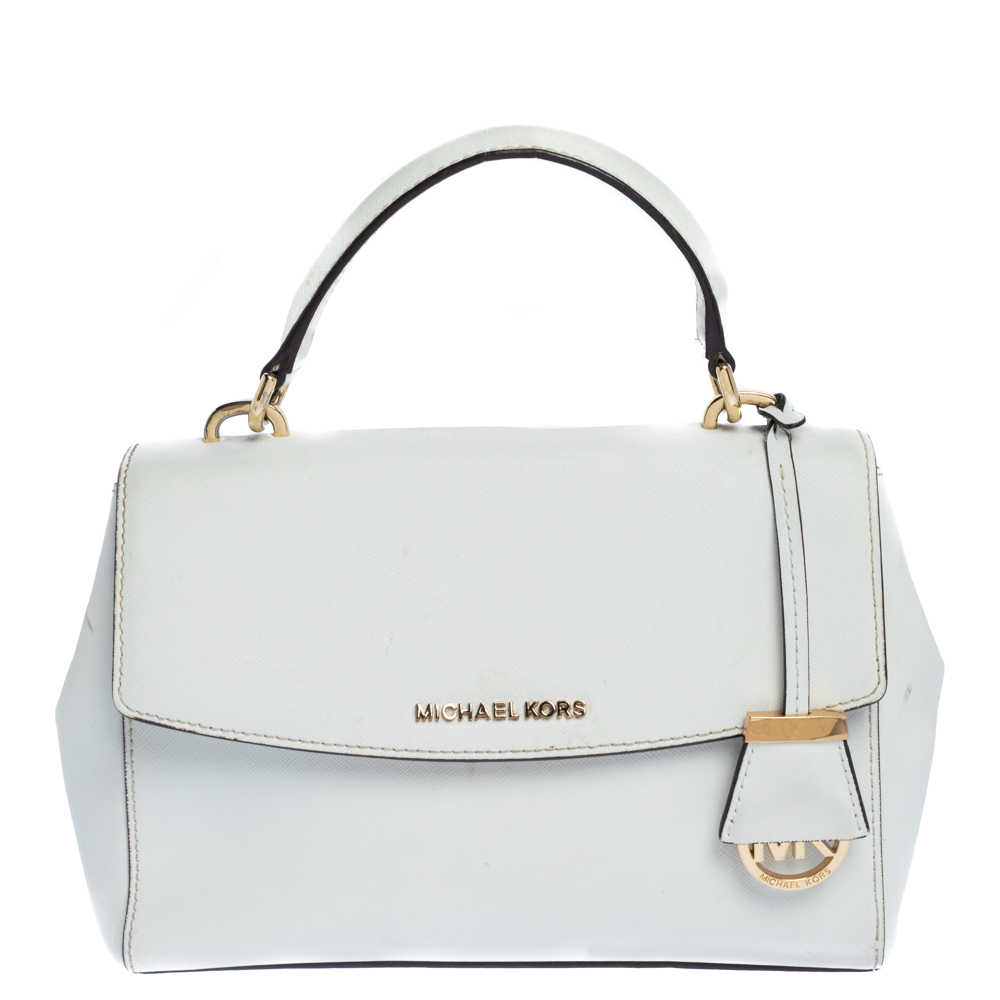Pre-owned Michael Kors White Leather Small Ava Top Handle Bags