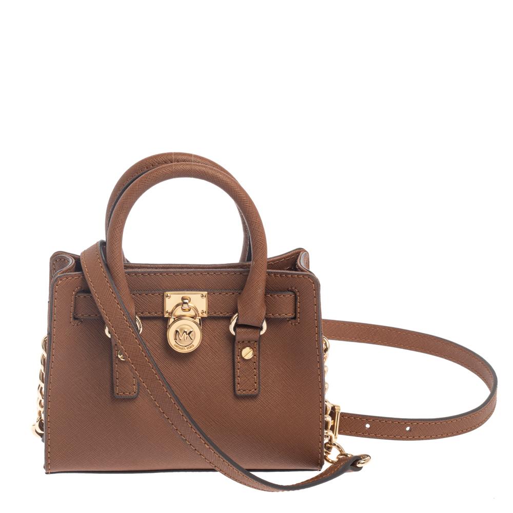 Pre-owned Michael Kors Michael  Brown Leather Mini Hamilton Crossbody Bag