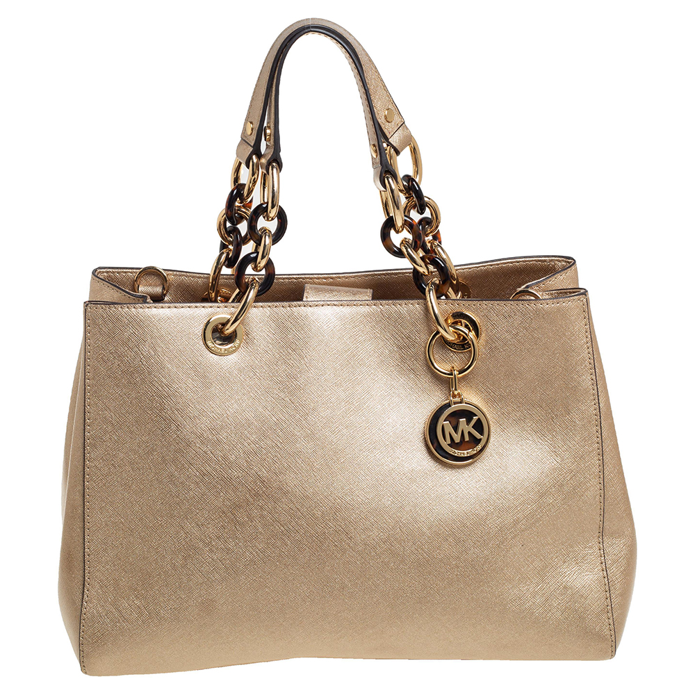 Pre-owned Michael Kors Michael  Gold Patent Leather Medium Cynthia Tote