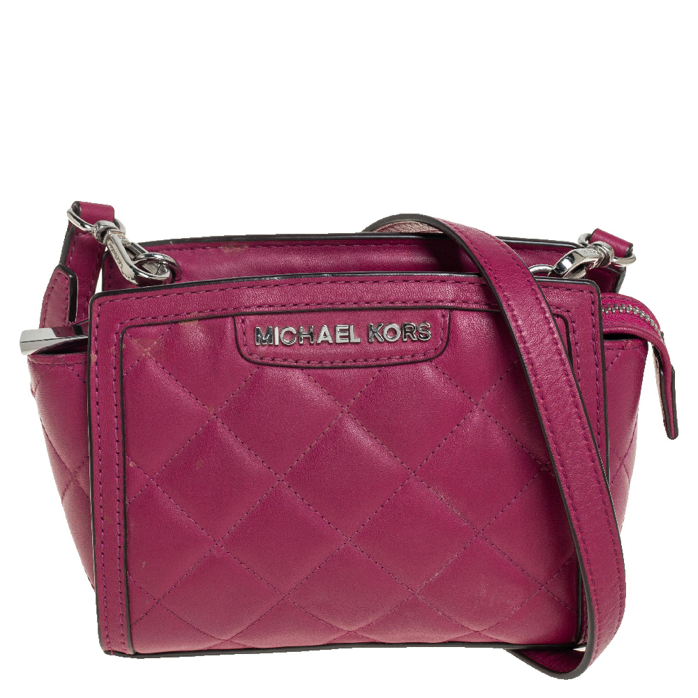 Pre-owned Michael Kors Fuchsia Quilted Leather Mini Selma Crossbody Bag In Pink