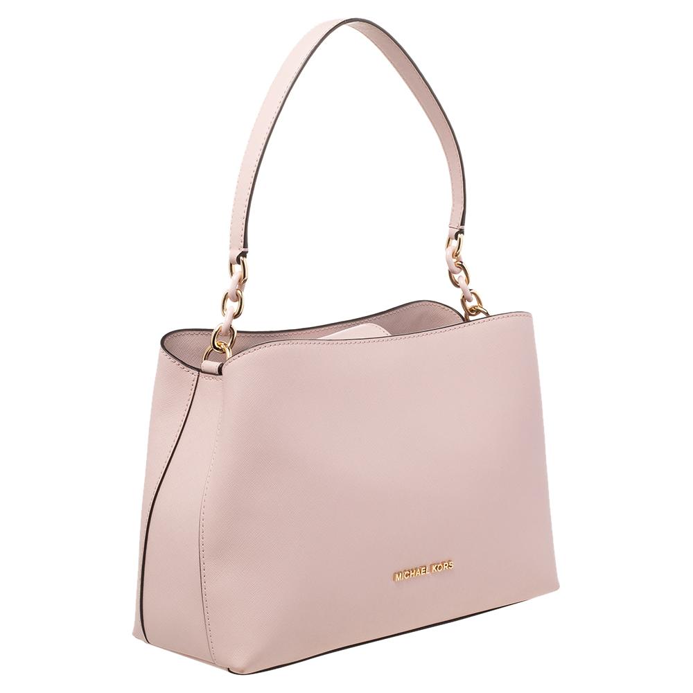 Michael Kors Powder Pink Saffiano Leather Large Portia Shoulder Bag
