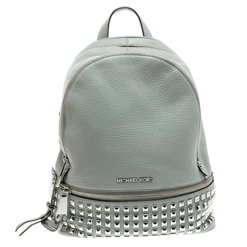 0bb3a5803a42 ... Michael Kors Grey Leather Small Studded Rhea Backpack. nextprev.  prevnext. Share: