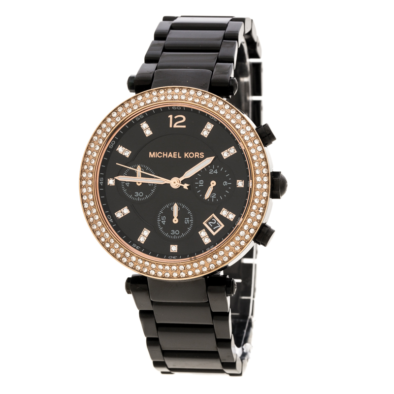4b8886ebb1bb Buy Michael Kors Black Stainless Steel and Rose Gold Plated Steel ...