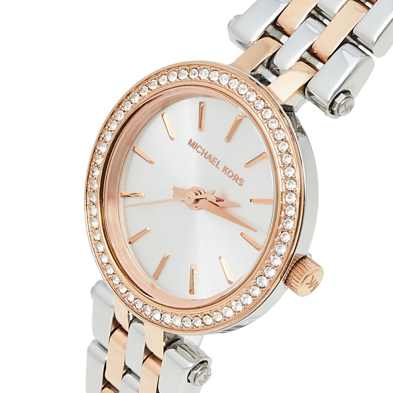 Michael Kors Silver Two-Tone Stainless Steel Petite Darci MK3298 Women's Wristwatch 26 mm