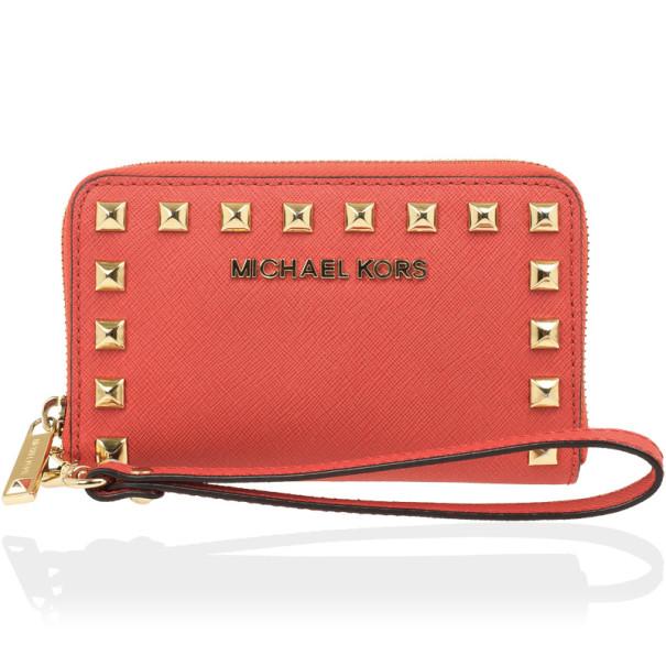 793c82da77e70 ... MICHAEL Michael Kors Coral Saffiano leather iPhone 5 Wristlet Wallet.  nextprev. prevnext