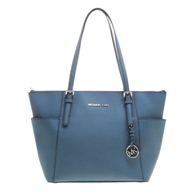 f10c16bfd320 Buy Michael Michael Kors Blue Saffiano Leather Jet Set Top Zip Tote ...