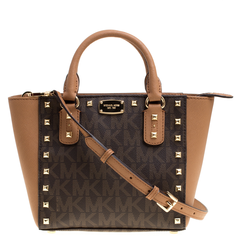 ... Michael Michael Kors Signature Coated Canvas and Leather Small Studded  Sandrine Crossbody Bag. nextprev. prevnext f270568bb42ad