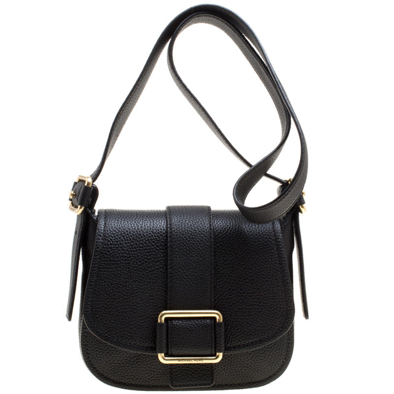 30e38885dab1 ... Michael Michael Kors Black Leather Medium Maxine Saddle Crossbody Bag.  nextprev. prevnext