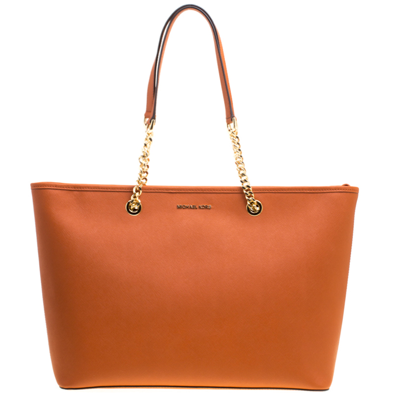 43ff8efc2580 ... Michael Michael Kors Orange Leather Medium Jet Set Travel Chain Tote.  nextprev. prevnext