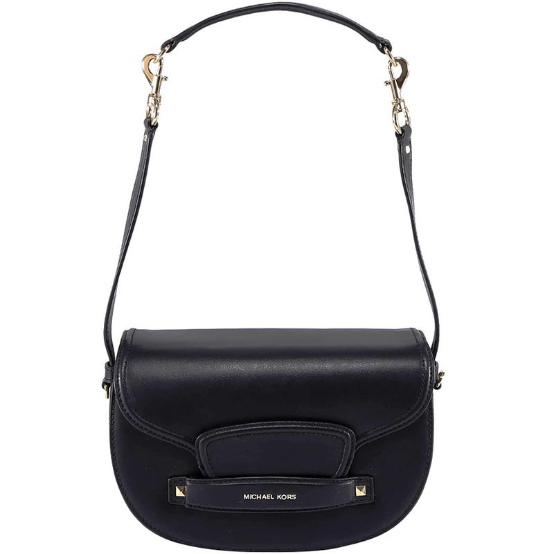 eb6fd9538ce145 Michael Michael Kors Black Leather Medium Cary Saddle Crossbody Bag.  nextprev. prevnext