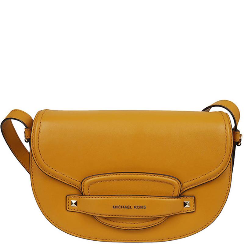 Michael Kors Yellow Leather Medium Cary Saddle Crossbody Bag