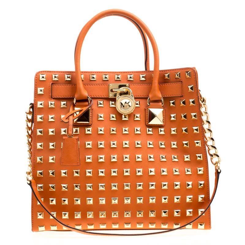 f7c01cef1332 ... Michael Michael Kors Orange Leather Large Studded Hamilton Top Handle  Shoulder Bag. nextprev. prevnext