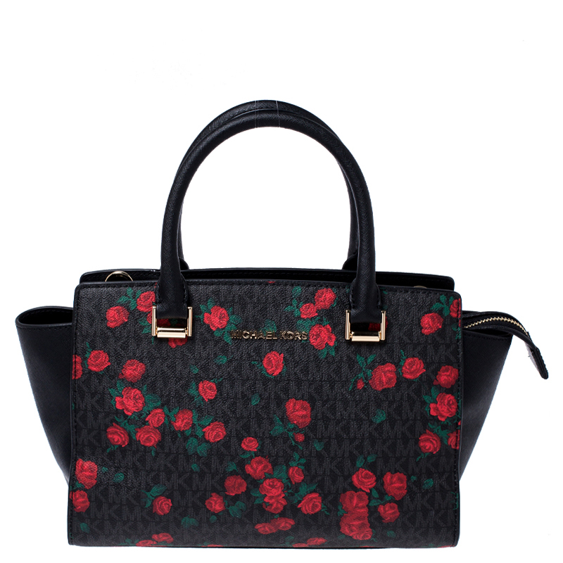 MICHAEL Michael Kors Black/Red Rose Printed Signature Leather Medium Selma Tote