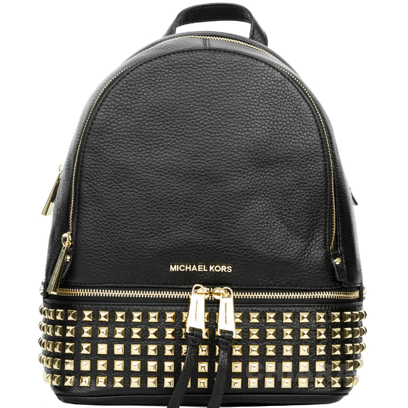 ad3c20d87530 Michael Kors Black Leather Medium Rhea Studded Backpack. nextprev. prevnext
