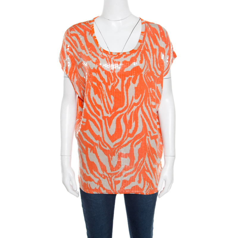 7bff241fc630 ... Michael Michael Kors Orange and Beige Zebra Printed Sequined Top M.  nextprev. prevnext