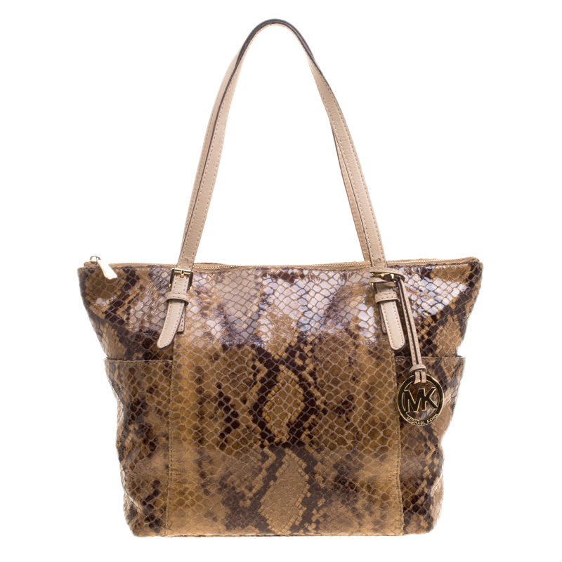 4cf55c9fd8dd ... Michael Michael Kors Brown Python Embossed Leather Top Zip Jet Set Tote.  nextprev. prevnext